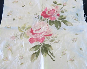 Society Silk Emroidered Pillow Cover Repurposing Variegated Pink Silk Cabbage Roses 20 by 21 Inches 829b