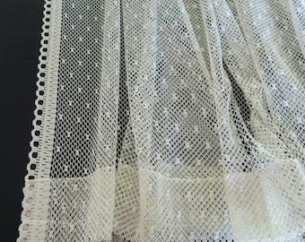 Reserved for William Rossi   Lace Curtain Panels Ivory Tambour Lace 4 Curtain Panels 3 Valences Rue de France Arts and Crafts Design 891b