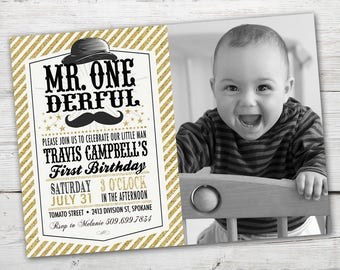 Mr ONEderful Invitation, Mr ONEderful Birthday, PRINTABLE, Mr onederful, First Birthday Boy Invitation, First Birthday Boy Theme