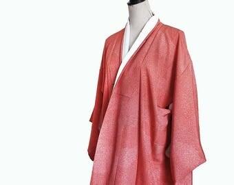 Vintage Silk Kimono, women's silk Gown, coral red kimono,  full length kimono, floral, Tall, one size XS/ Small/ Medium