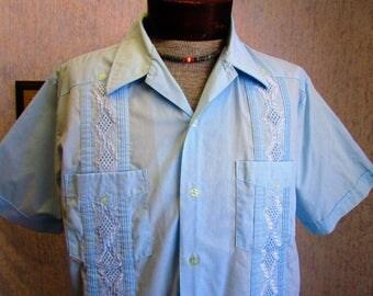 50s L Haband of Paterson Guayabera Men's S/S Shirt Light Blue