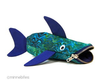 Ready to Ship - Shark Bag - Kids Pouch - Art Supplies - Blue Green Pencil Case - Fish Purse - Zipper Pouch - Desk Accessory - Office Gift