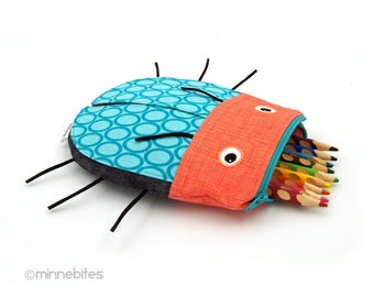 Kids Bug Pencil Bag - Turquoise Beetle Toy Bag - Handmade School Pouch - Art Case - Kids Desk Accessory - School Supplies - Ready to Ship