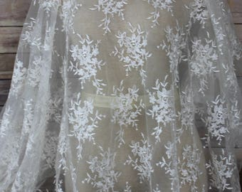 White Bridal Lace With Allover Embroidery Flower Motif with Scalloped Edges-Bridal Wear-Veils-Couture Dress-Dream Full Gown-Darling Skirts