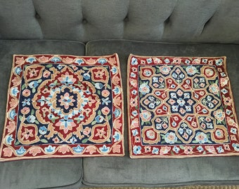 "Vintage Set of Two BoHo Beauties...Pair of Vintage Woven Pillow Covers 15"" X 15"""