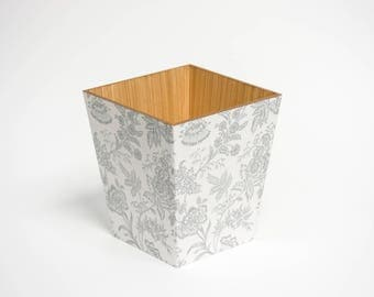 Silver foliage  Waste Paper Bin Trash Can Handmade Wooden made in UK
