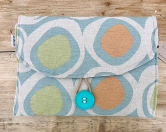 Diaper Changing Pad - Diapering on the Go - Retro Circles Orange and Green on Natural