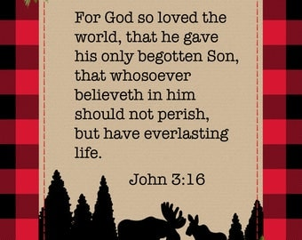 For God so Loved the world John 3 16 Scripture verse buffalo red plaid printable instant download Christmas print printable Bible verse