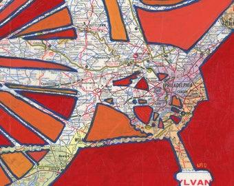 Philadelphia - large print -  20x20 & 24x24 -  Philly, Camden, Darby, Pottstown, Pennsylvania - bicycle art, bike map print, bike art print