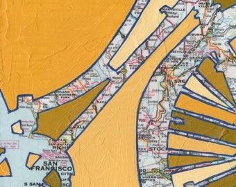 San Francisco no.1 - large print -  20x20 & 24x24 -bicycle map, bike art, map art, vintage map of California, Pacific coast, Bay area, cycle