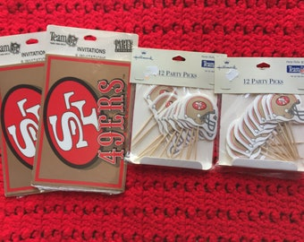 Two Packs Of Vintage San Francisco 49ers Party Invitations And Two Packs of Vintage Party Picks ~ You Get All That You See In The Photo