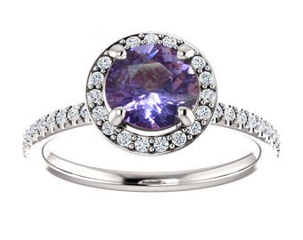 1.57ct unheated natural round Violet sapphire engagement ring SKU SAILA 2441