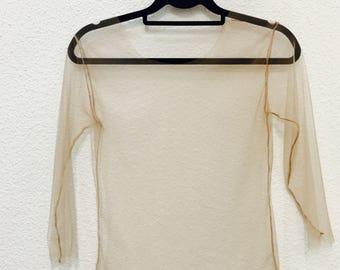 Transparent Tulle Nude Mesh Top Sheer shirt