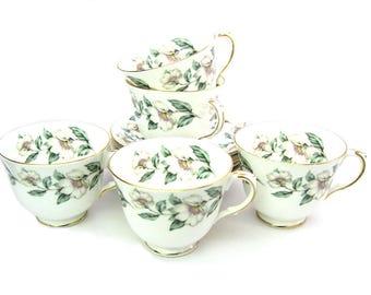 Tea Service. Tea Cups & Saucers Set of Five. Crown Staffordshire English Bone China. Pear Blossom F 16218, 1930 – 1956 Vintage 1940s Teacups