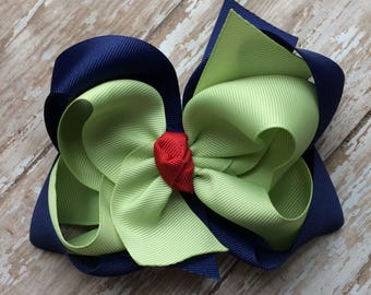 CLEARANCE M2m made to match Eleanor Rose School Surprise Apples girls double stack hair bow