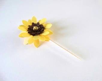 3D Sunflower Cupcake Toppers, Layered Flower Cupcake Toppers, Garden Party Flowers, Daisy Toppers, Wedding Toppers, Bridal Shower