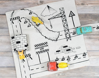 Set of 2 Construction Vehicle Playmats, Mini play mat, travel toys, imaginative play, kids playmat, toddler playmat, road playmat, play town