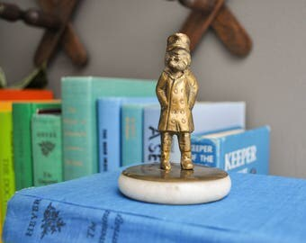 Vintage Petite Brass Fisherman Statuette on Marble Stand