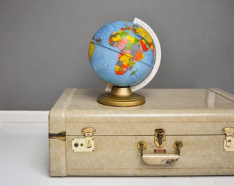 Large Vintage Beige Hard Shell Antosek Suitcase - Made in Philadelphia, PA