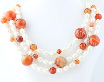 Orange Banded Agate & FWP Pearl Strand Necklace Long Layer Sterling Silver Poly1101