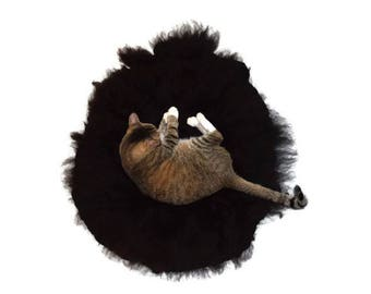Cruelty Free, Navajo Churro, Black Ram, Cat Bed, Dog Bed, Pet Bed,  Felted Wool. Fleece Rug. Ethical SheepSkin, Accent Rug, Leather Free