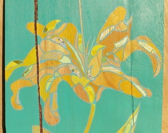 Lily panel painting on wood 77