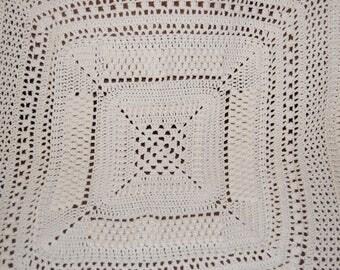 Crochet Afghan Cream Acrylic Yarn