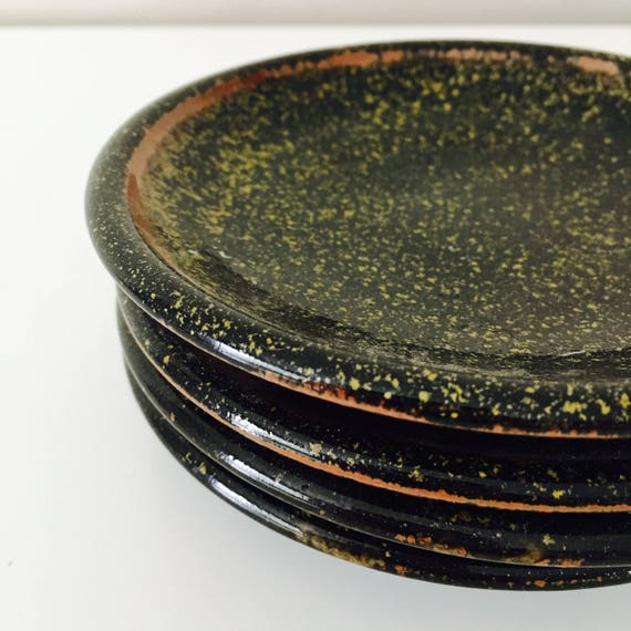 Vintage Handmade Stoneware Plates Set of (4) Textured Black Glaze Rustic Dining Primitive Small Plates