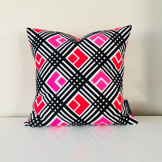"Retro Mod Black and White Pillow Cover 18""x18"" Square Cushion Pillow Red Pink Geometric Pattern Black Stripes"