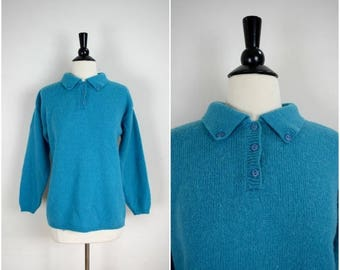 SALE Vintage teal blue pullover wool sweater / collared oversized rugby sweater