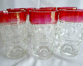8 Kings Crown Wine Glasses Tumblers Tiffin Thumbprint Drinking Glass Ruby Flash 1960's