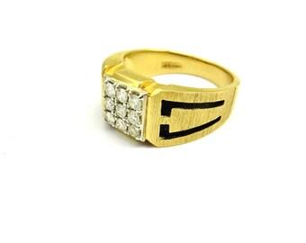 Gold Diamond Ring, Yellow Gold Ring, Black Enamel Ring, Diamond Rings For Men, Unisex Rings, Fine Jewelry Size 9 1/4