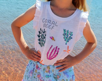 Mermaid beachcomber #1  2 pocket skirt  (2T, 3T, 4T, 5T, 6, 7, 8, 10)