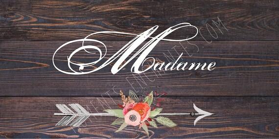 """Saint Valentin Panneau mariage Baptême Bohème nature campagne """" Madame """"  flèche fleur watercolor aquarelle"""