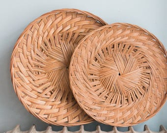 Pair of Vintage Woven Round Flat Wall Baskets | Rattan Trays | Bamboo Trivets