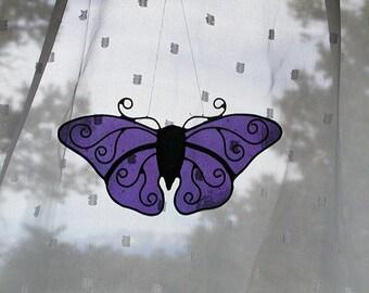 Purple Stained Glass Butterfly, Monarch Butterfly Suncatcher, Window Deccor, Handmade Glass Butterflies, Home Decor, Decorative, Summer Gift