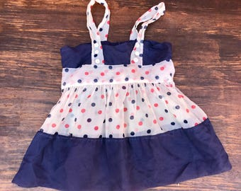 VINTAGE 1950s 1960s Baby toddler girl Blue White Red Polka Dot Pinafore Dress. 2T 24 months