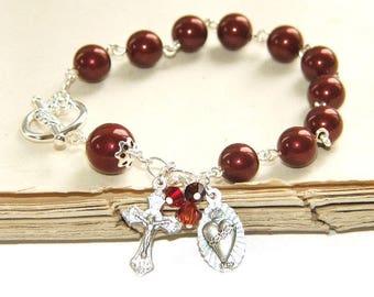 Rosary Bracelet, Infant of Prague Medal, Swarovski® Burgundy Pearls