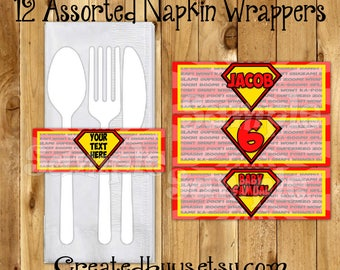 Superman Napkin wraps Superman Birthday Decorations Super man napkin bands Paper napkin ring holder utensil wraps Napkin wrappers 12 printed