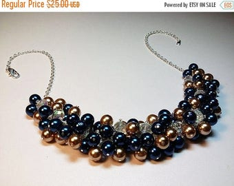 30% OFF SALE thru Mon Blue and Gold Pearl and Crystal Cluster Necklace, Valentines Mothers Day Gift Wedding Bridesmaid Mom Sister Grandmothe