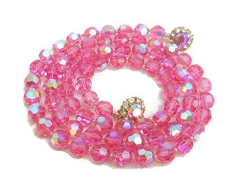 Vintage Judith McCann 1950 Pink Aurora Borealis Faceted Glass Bead Necklace and Earring Set