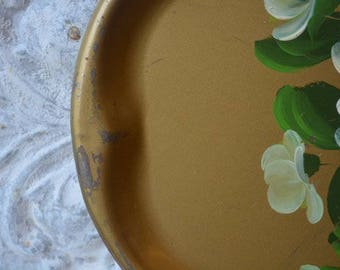 Vintage Metal Gold And Green Hand Painted Tray