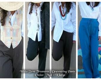 Vintage Drawstring Cotton Pants ~ SALE ~ Never Worn ~ Color & Size Choices
