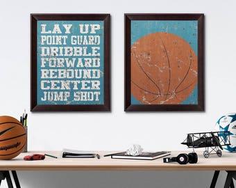 Basketball Vintage Weathered Wall Art Paper Prints