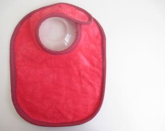 EcoBib--Adjustable Snap Closure--Bright Bold Pink with Mauve Edge--Ready to Ship