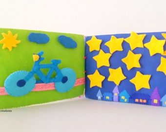 Back to School Activity Quiet Book, Learning Music Book, Preschool Book Educational Book, Soft Felt Book, Bicycle Musical Notes Garden Stars