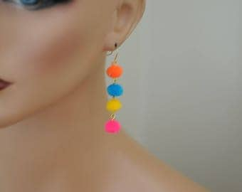 Pom Pom Earrings, Drop Earrings, Gift for her, Long earrings, multi-color Earrings, long earrings, everyday use, Holiday Gift