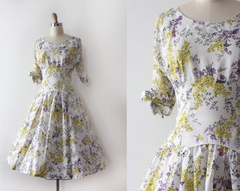 vintage 1950s dress // 50s sheer floral dress