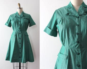 vintage 1950s Girl Scout dress // 50s green day dress