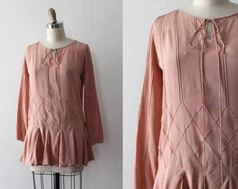 vintage 1920s blouse // 20s harlequin peach top
